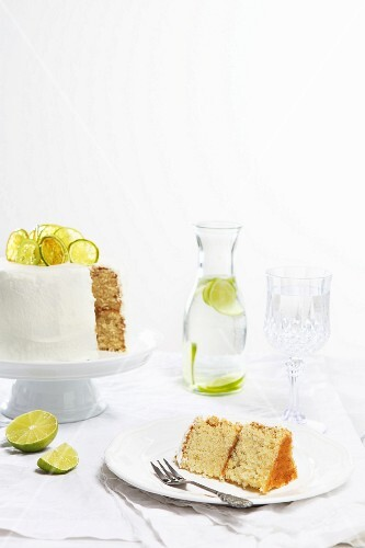 Sliced lime cake and limeade