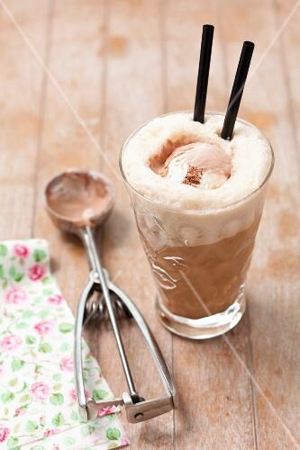 Iced coffee with chocolate ice cream