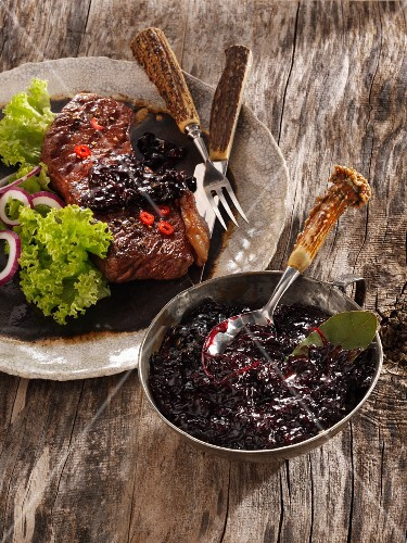 Blueberry chutney with a grilled steak