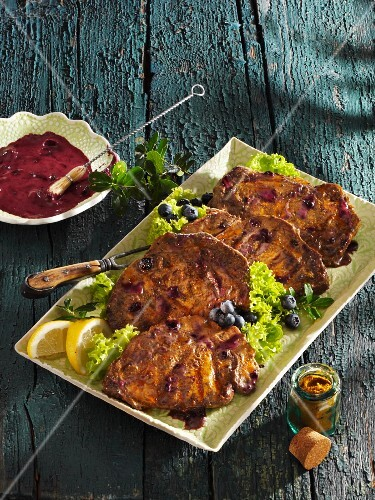 Blueberry marinated meat