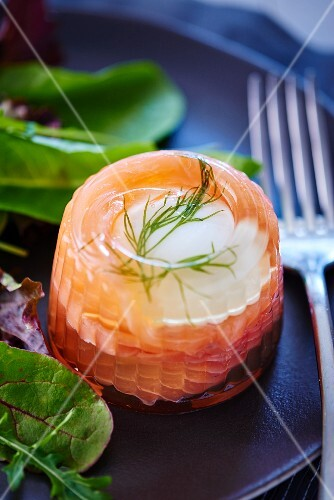 Egg in aspic with smoked salmon