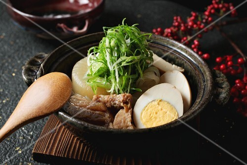 Oden (Japanese soup) with boiled eggs and beef