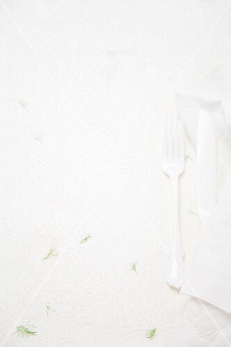 Cutlery on a white surface