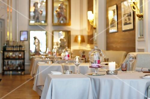 An interior view of the Haerlin restaurant in the Fairmont Hotel Vier Jahreszeiten, Hamburg