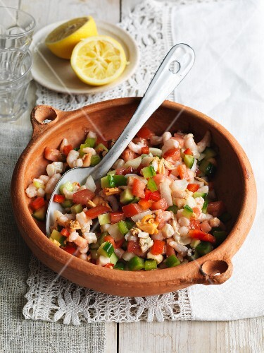 Seafood salad with cucumber and tomatoes