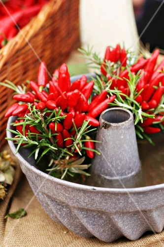 Posies of chilli peppers & rosemary in cake mould