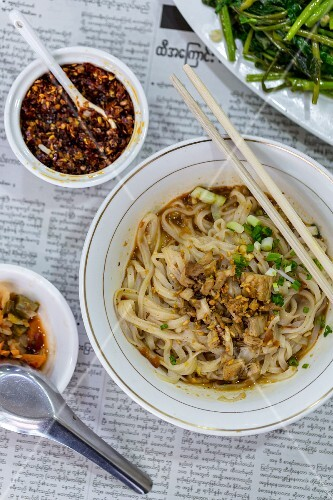 Shan noodles at the market in Yangon, Myanmar