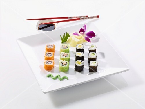 Various wagashi with wasabi and soy sauce
