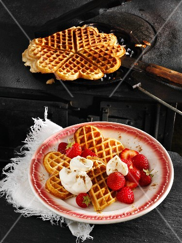Kefir waffles made with spelt flour with fresh strawberries