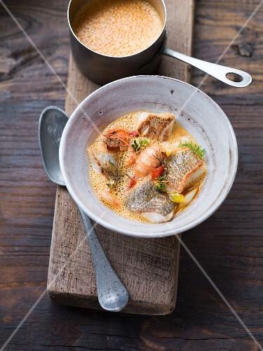 Bourride (provençale fish soup) with crayfish