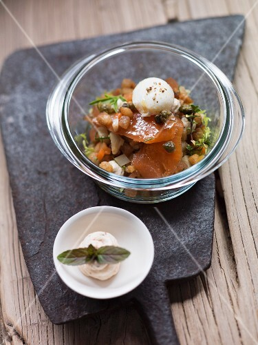 Bread salad with smoked brook trout