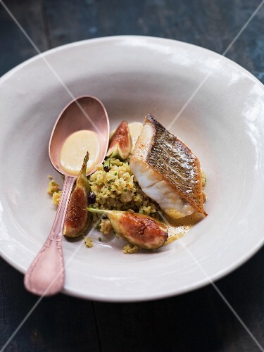 Perch with couscous, chickpeas and figs