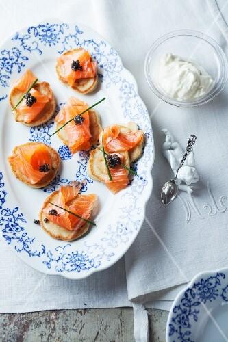 Blinis with smoked salmon and caviar