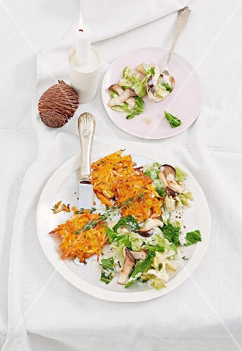 Sweet potato cakes with a savoy cabbage and mushroom medley (Christmas)