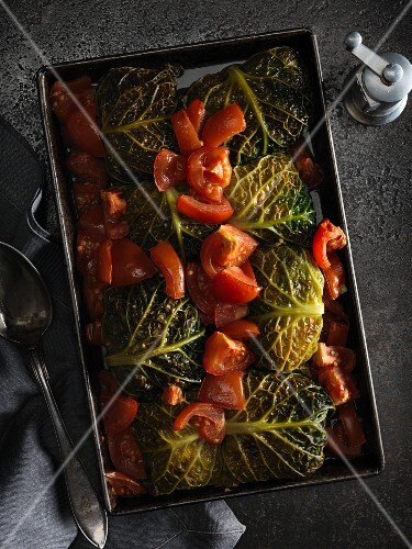 Oven-baked savoy cabbage parcels filled with pork and tomatoes