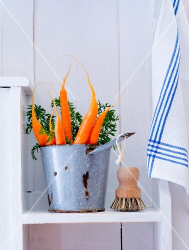 Fresh carrots with a brush on a kitchen shelf