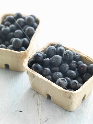 Fresh blueberries in cardboard punnets
