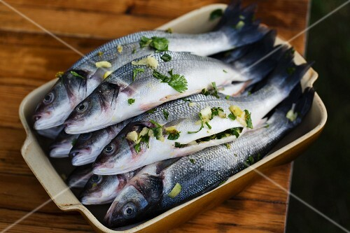 Fresh fish with a lemon and parsley stuffing