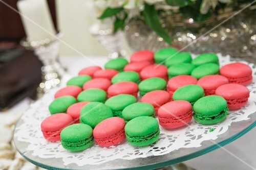 Red and green macaroons