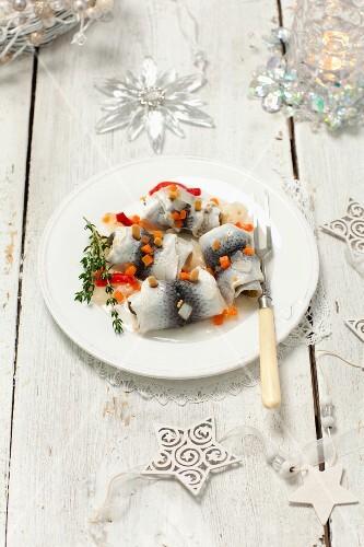 Rollmop herring and pickled vegetables