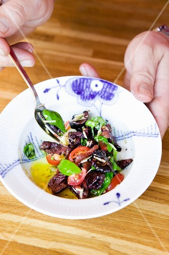 Olive and tomato salad with tapenade