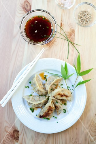 Chinese ravioli with a soy sauce and vinegar dip