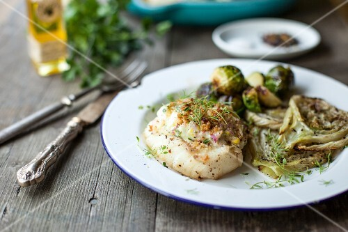 Grilled cod with tartar sauce, roasted fennel and Brussels sprouts