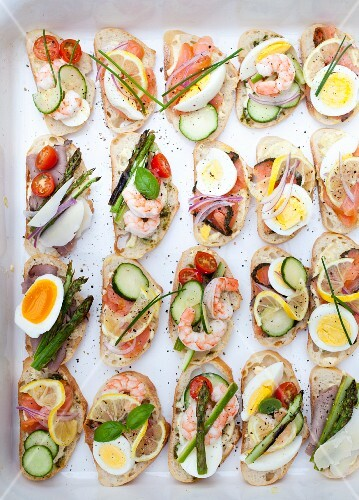 Various open sandwiches for a party