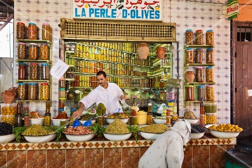 An olive stand in the market hall in Marrakesh, Morocco