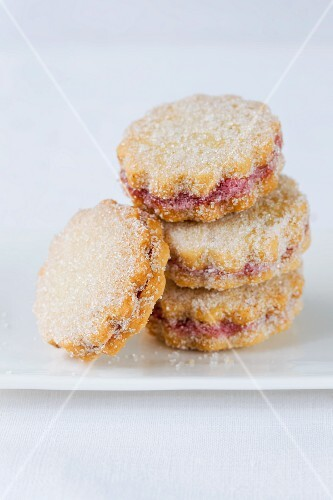 A stack of jammy shortbread biscuits