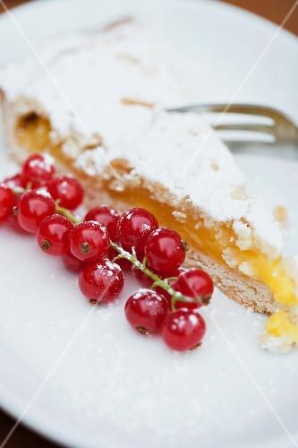 Torta di limone (Italian lemon tart) with redcurrants