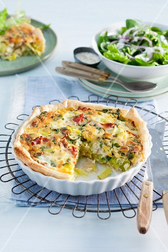 Leek quiche with a side salad
