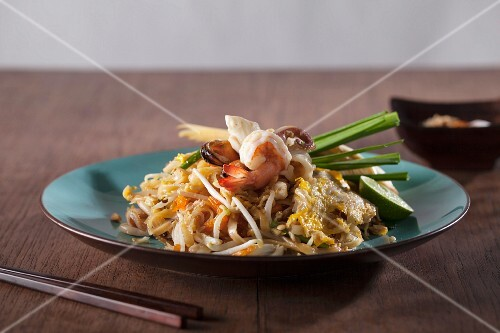 Pad Thai with seafood (noodle dish from Thailand)