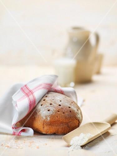 Rye bread on a wooden board