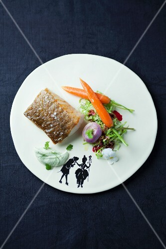 San Remo cod with carrots and a lettuce (Italy)