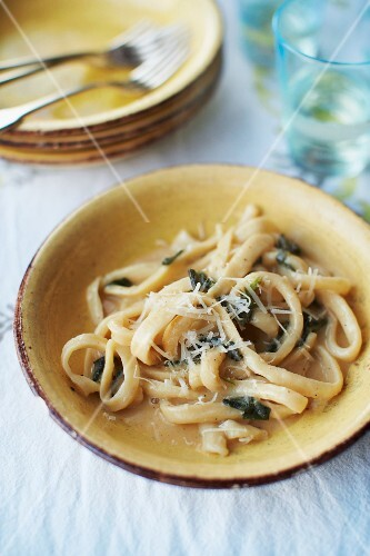 Homemade tagliatelle with sage and Parmesan