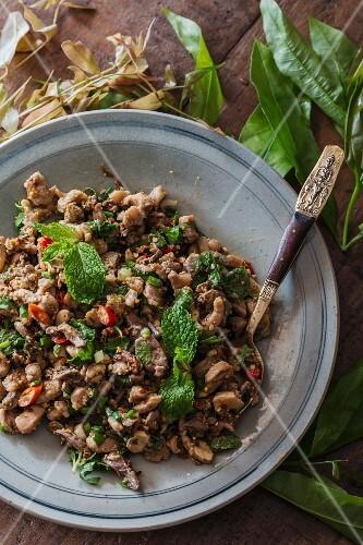 Larb Gai - minced chicken salad (Vientiane; Laos)