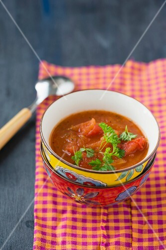 Tomato soup with fresh parsley