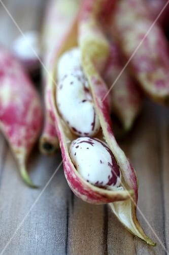 Borlotti beans in an opened pod (close-up)