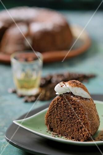 A slice of chocolate cake with espresso