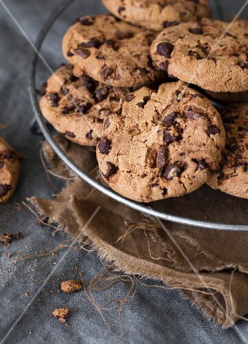 Chocolate chip cookies in wire basket