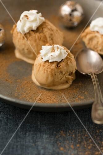 Christmas cinnamon ice cream topped with cream