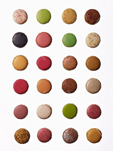 Rows of different macaroons