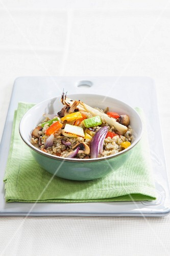 Freekeh with colourful roasted vegetables