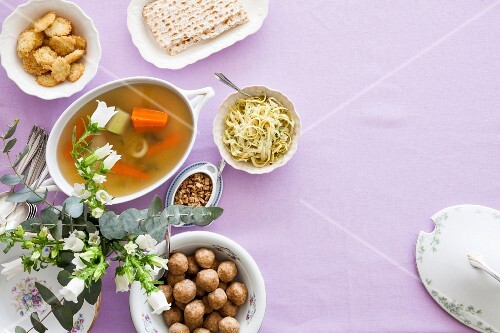 Various dishes for the Jewish festival of Passover