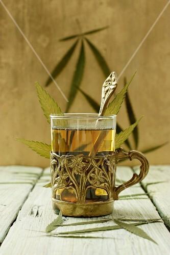 A glass of hemp tea