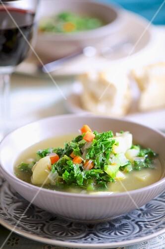 Potato soup with kale