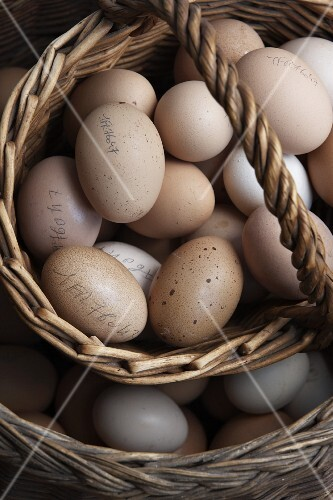 A basket of hand numbered farm eggs