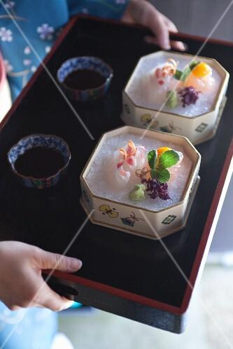 Sashimi with wasabi and soy sauce (Japan)