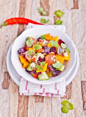Vegetable salad with pumpkin and coriander